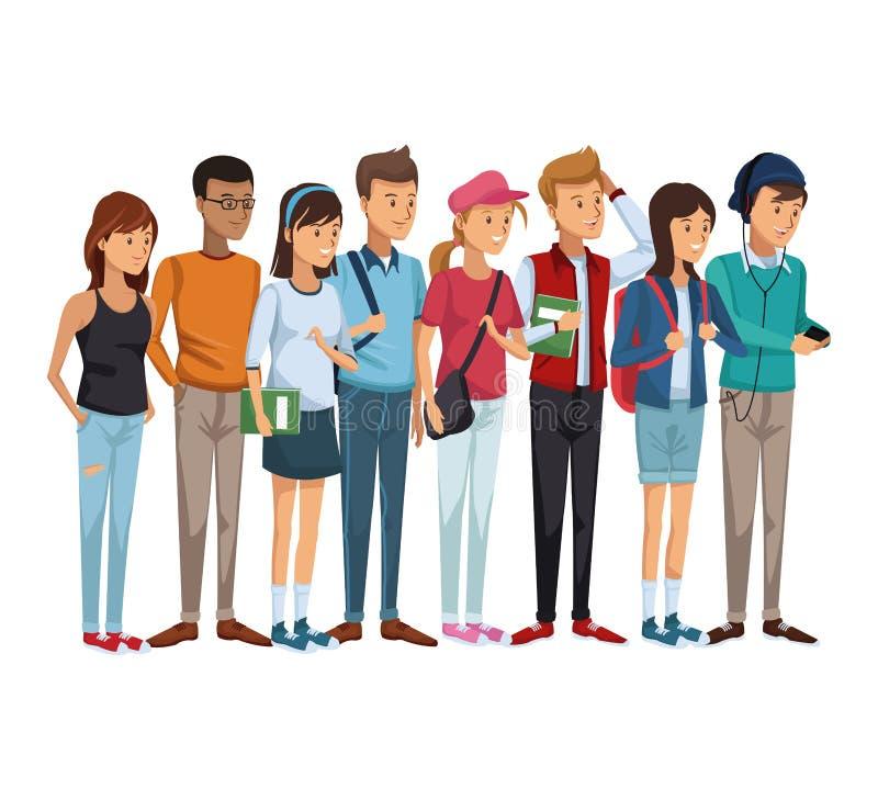 Färgrik uppsättninggrupp av att stå för studenttonåringar stock illustrationer
