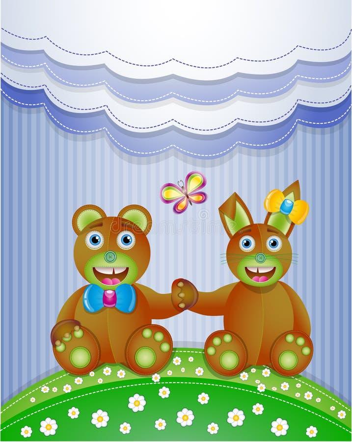 Färgrik urklippsbok med kaninen och björnen. stock illustrationer