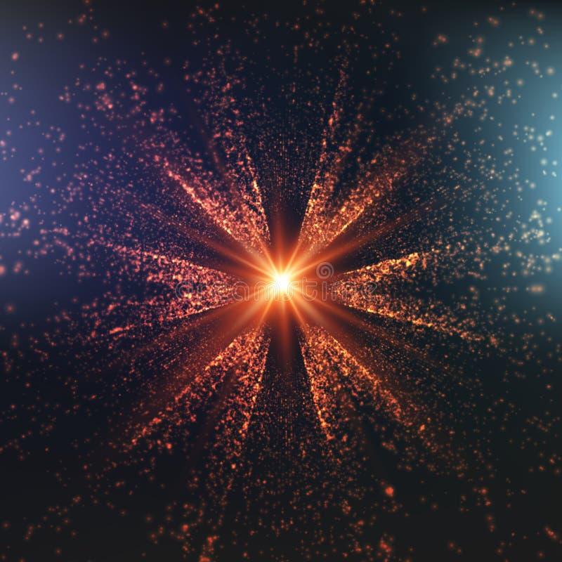 Färgrik utrymmebakgrund för abstrakt vektor Explosion av glödande partiklar stjärna för natt för julfractalbild Futuristisk tekno stock illustrationer