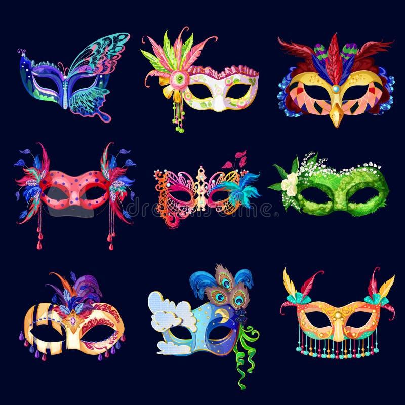 Färgrik utsmyckad karnevalmaskeringsuppsättning vektor illustrationer