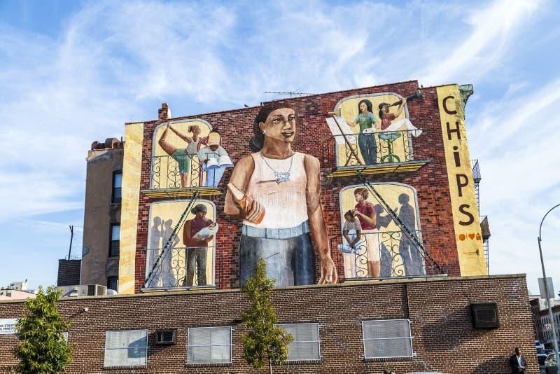 Färgrik vägg- väggmålning i New York arkivfoto