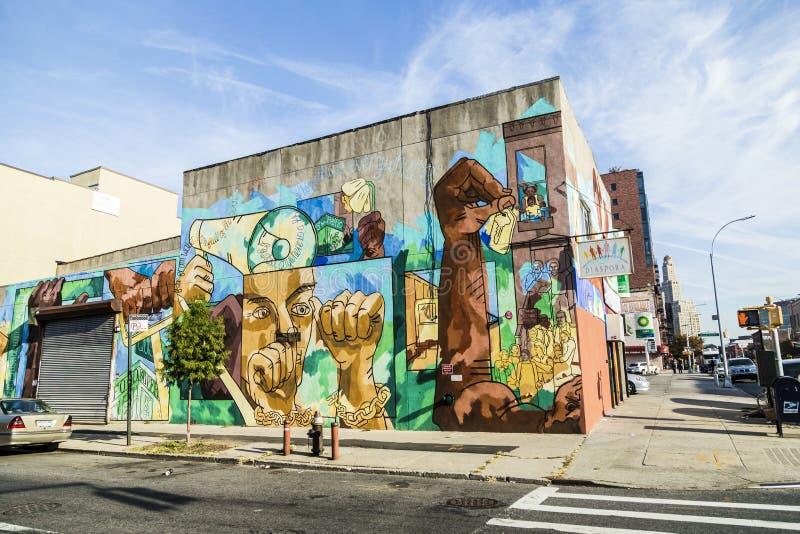 Färgrik vägg- väggmålning i New York royaltyfri fotografi