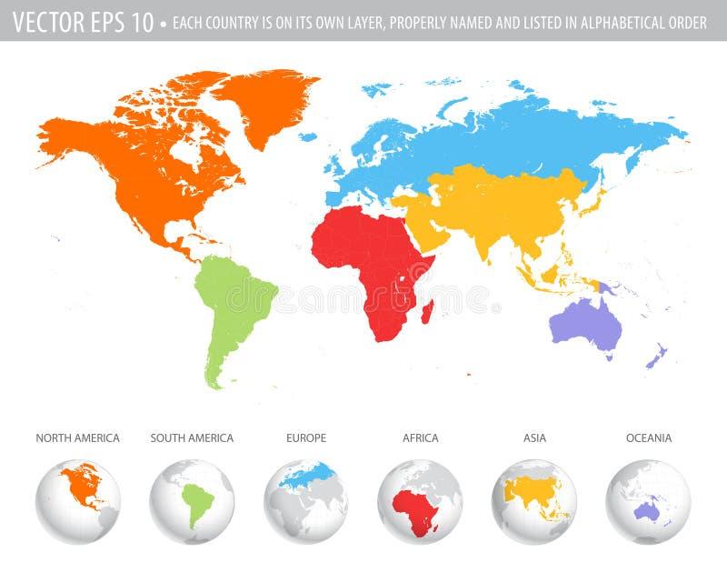 Färgrik världskarta för vektor royaltyfri illustrationer