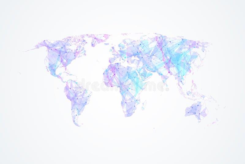 Färgrik världskartavektor Anslutningar för globalt nätverk med punkter och linjer Internetuppkopplingbakgrund Abstrakt begrepp royaltyfri illustrationer