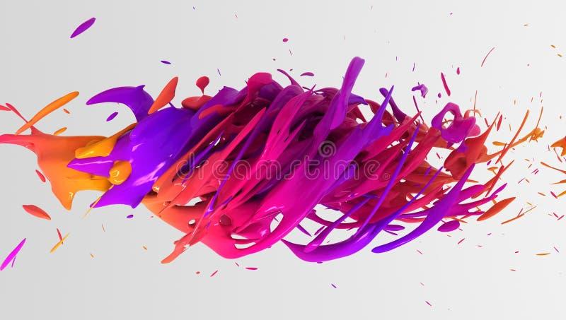 Färgrik vätskefärgbakgrundsdesign framförande 3d stock illustrationer