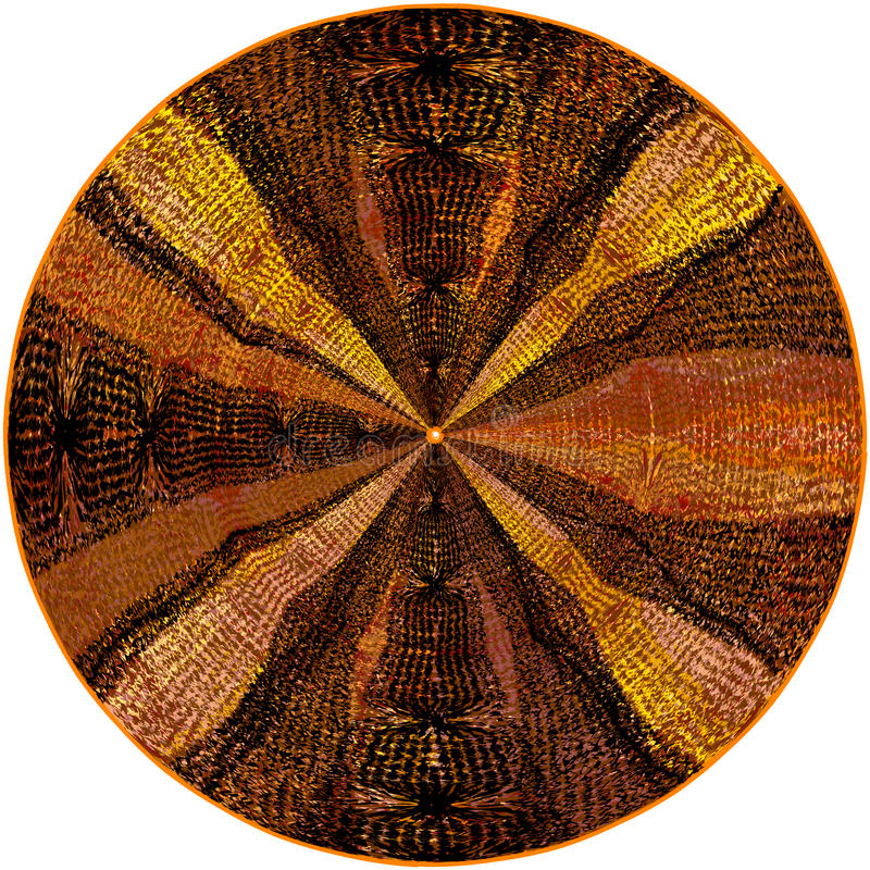 Färgrik vävrundamatta med grunge gjorde randig den centrifugala dekorativa modellen royaltyfri illustrationer