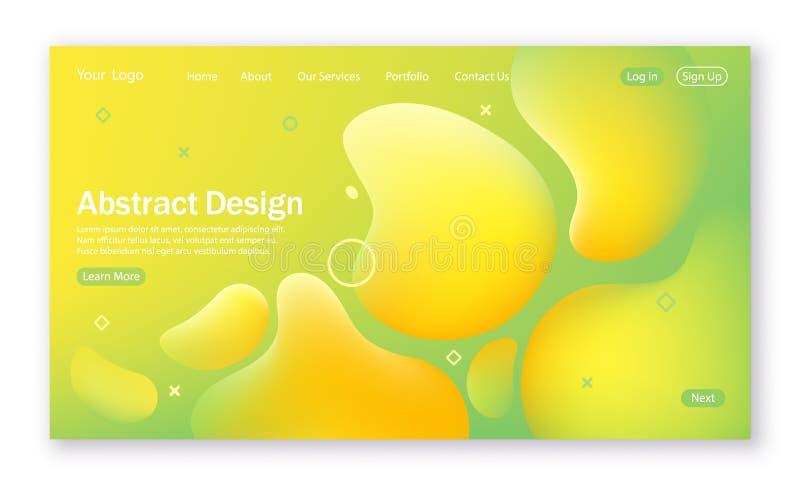 Färgrik vågform, abstrakt bakgrund med vätskeformen för att landa sidan Färgrik digital och rörelsemodell i gräsplan och skrän vektor illustrationer
