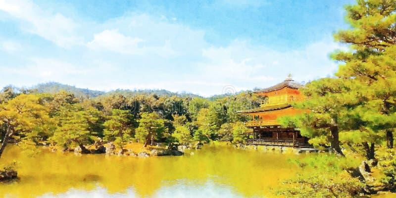 Färgrik vattenfärg hand-målad konstillustration: Guld- paviljongtempel/kinkakuji, kyoto royaltyfri illustrationer