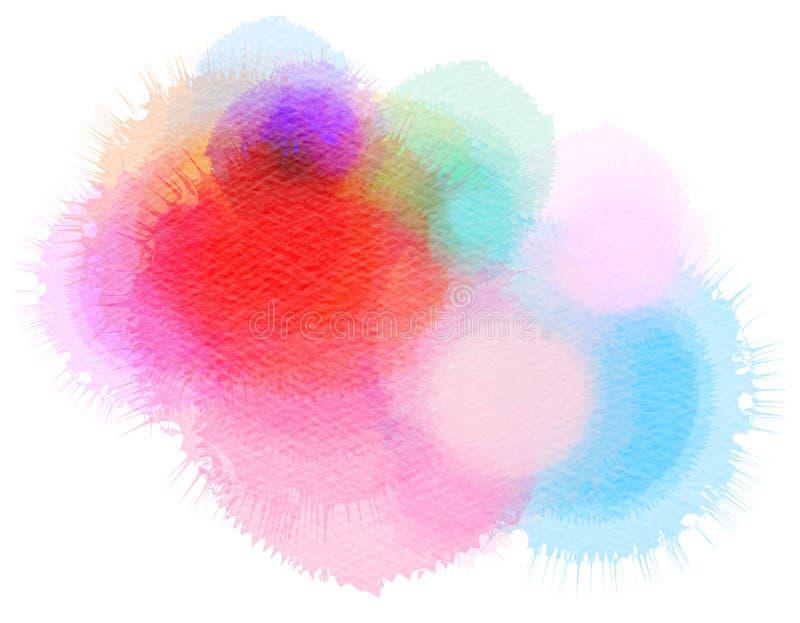 Färgrik vattenfärg isolerad fläck på vit bakgrund arkivbilder