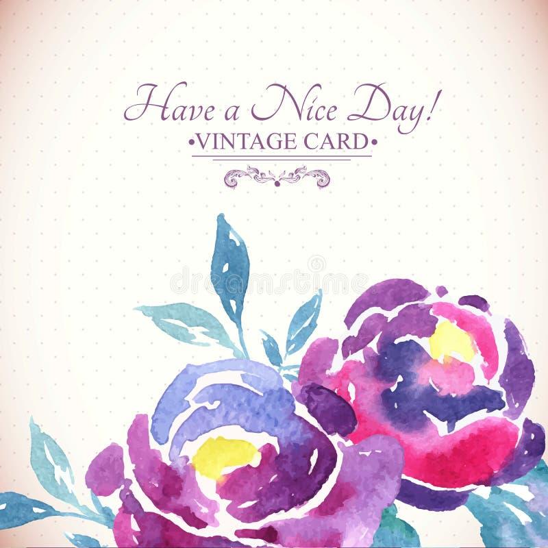 Färgrik vattenfärg Rose Floral Greeting Card royaltyfri illustrationer