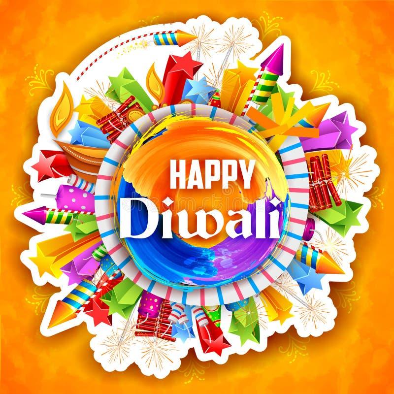 Färgrik vattenfärgdiya och brandsmällare på lycklig Diwali bakgrund för ljus festival av Indien royaltyfri illustrationer