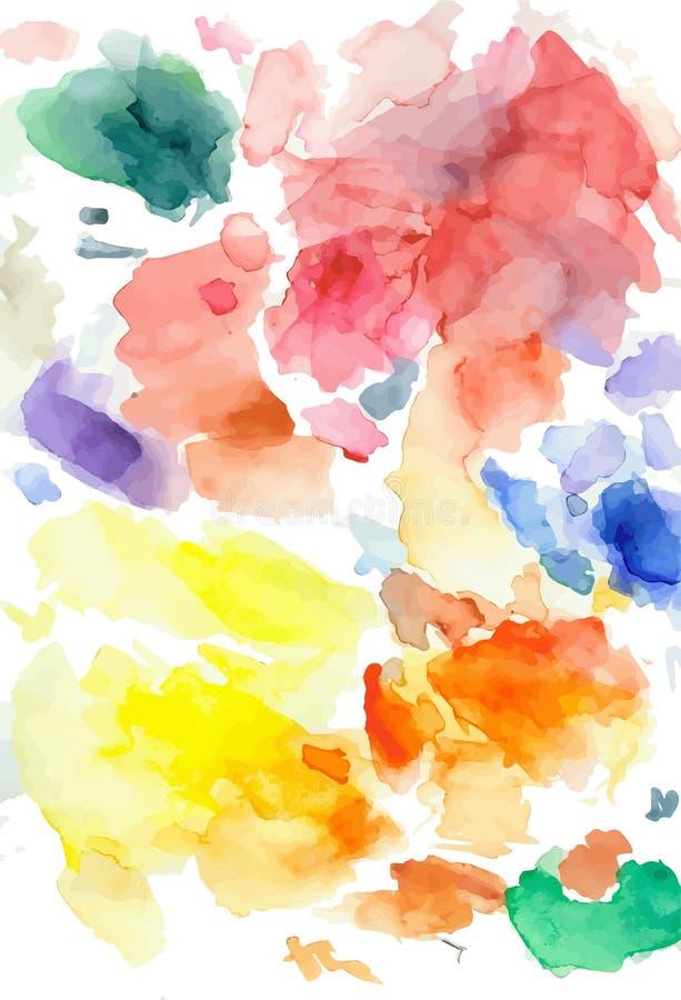 Färgrik vattenfärgfläck för vektor på en vit bakgrund stock illustrationer