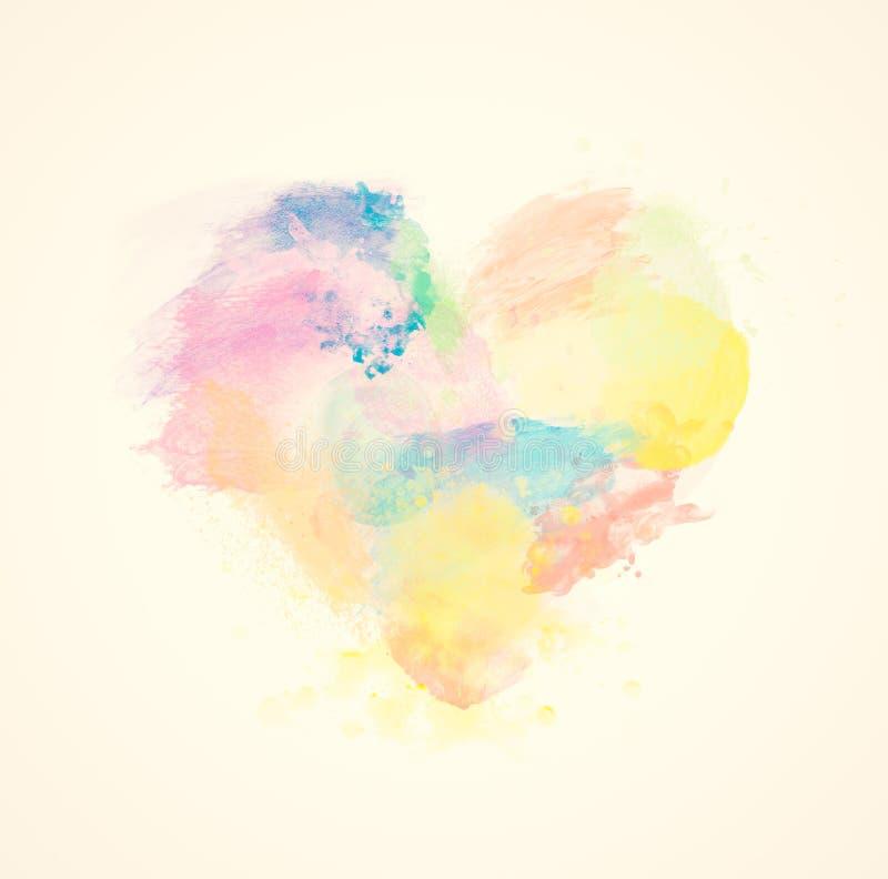 Färgrik vattenfärghjärta på kanfas göra sammandrag konst stock illustrationer