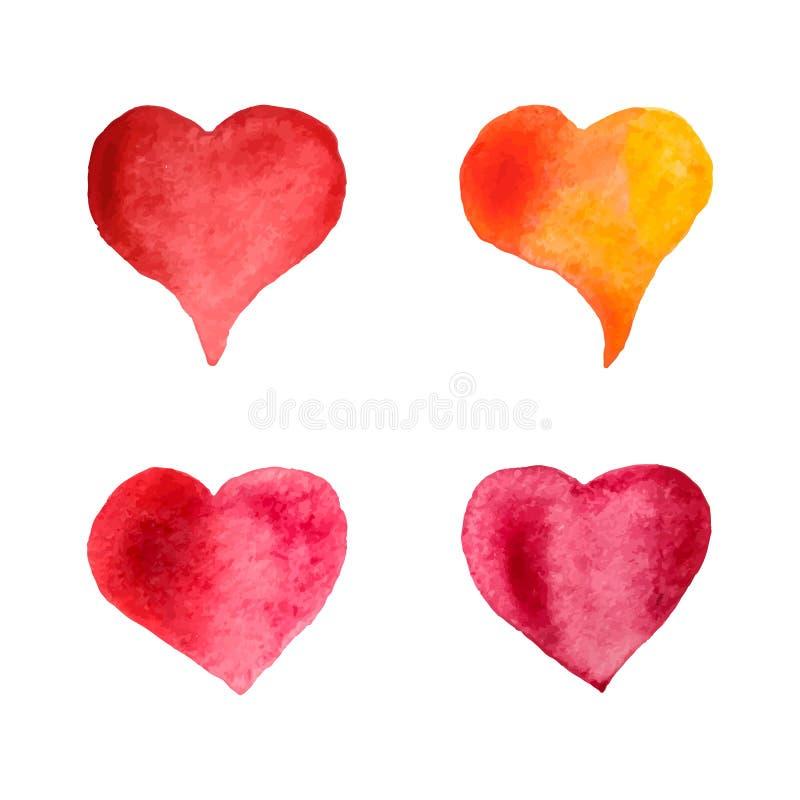 Färgrik vattenfärghjärtauppsättning Hand-målade hjärtor som isoleras på vit bakgrund Mall för dag för bröllop- eller valentin` s  vektor illustrationer