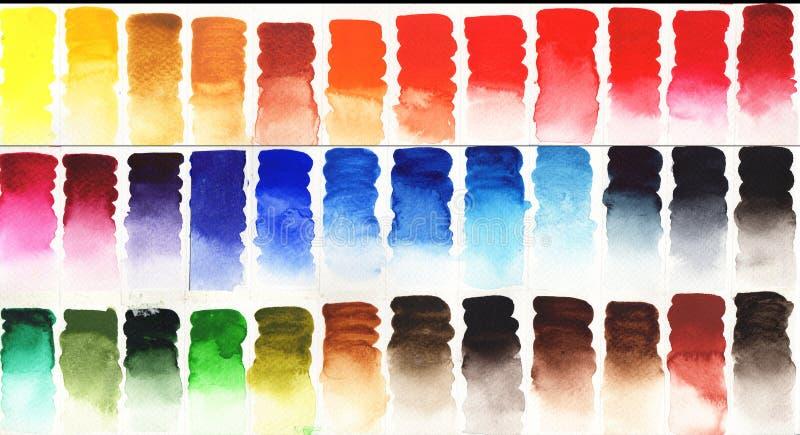 Färgrik vattenfärgpalettbakgrund vektor illustrationer