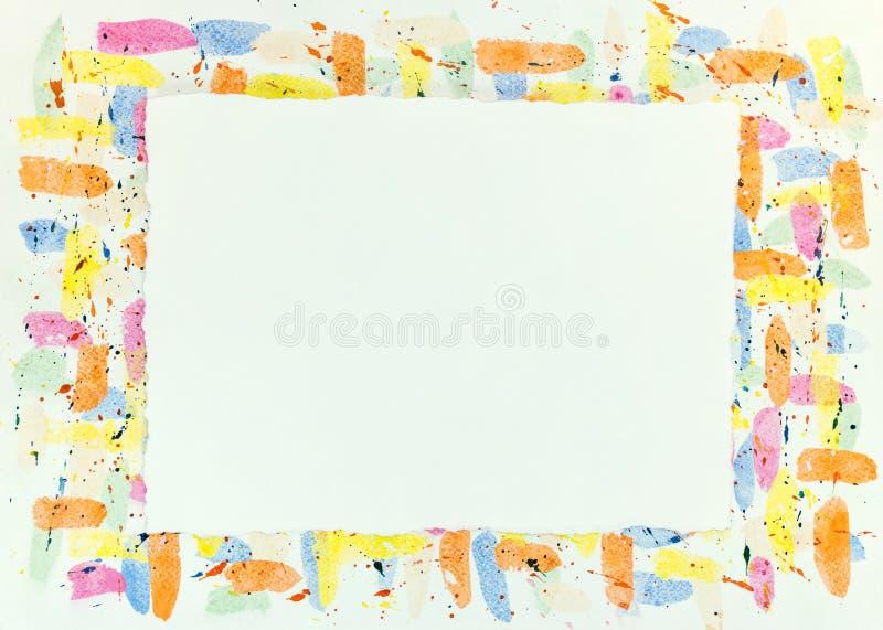 Färgrik vattenfärgrambakgrund med fläckar och droppandetextur royaltyfri fotografi