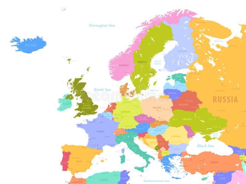 Färgrik vektoröversikt av Europa royaltyfri illustrationer