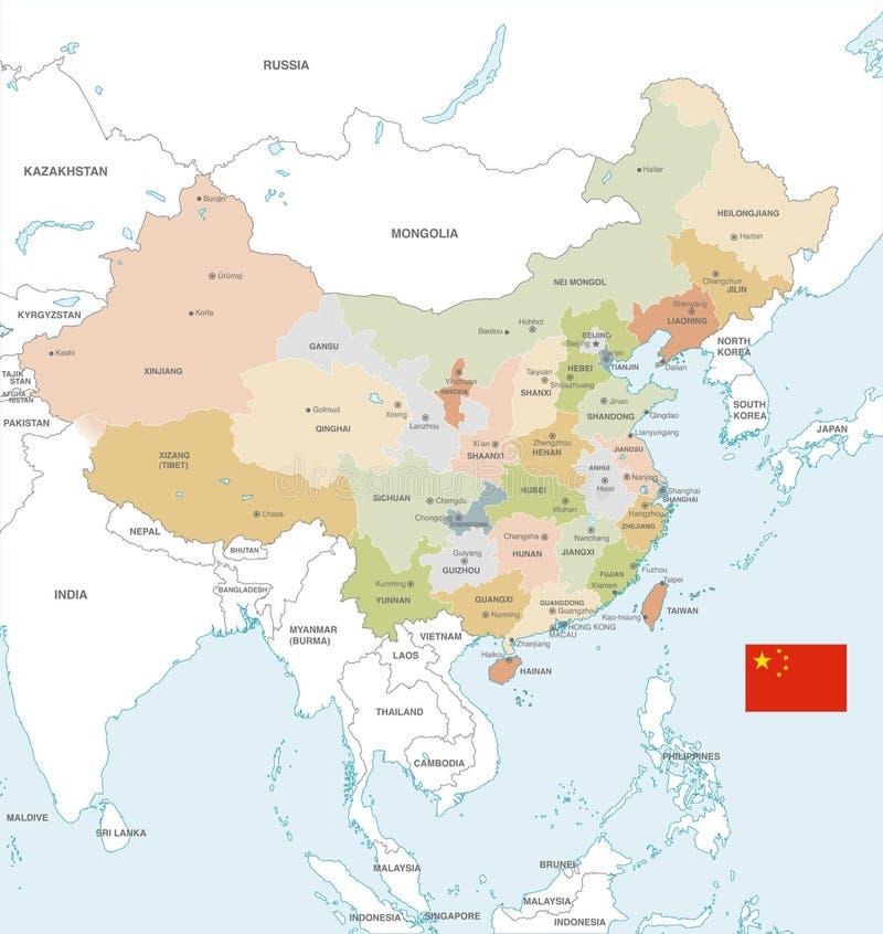 Färgrik vektoröversikt av Kina stock illustrationer