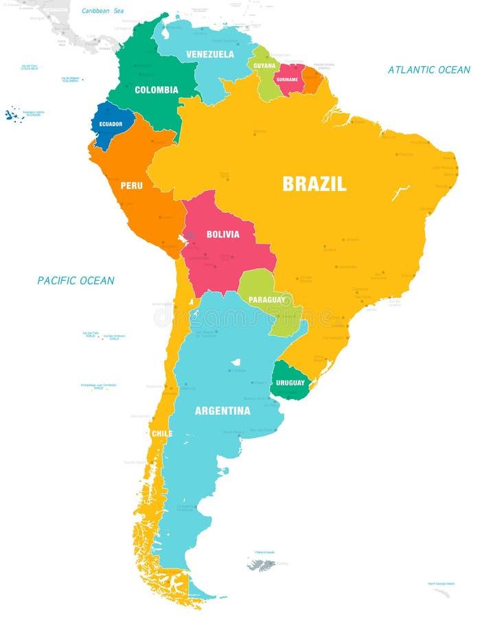Färgrik vektoröversikt av Sydamerika royaltyfri illustrationer