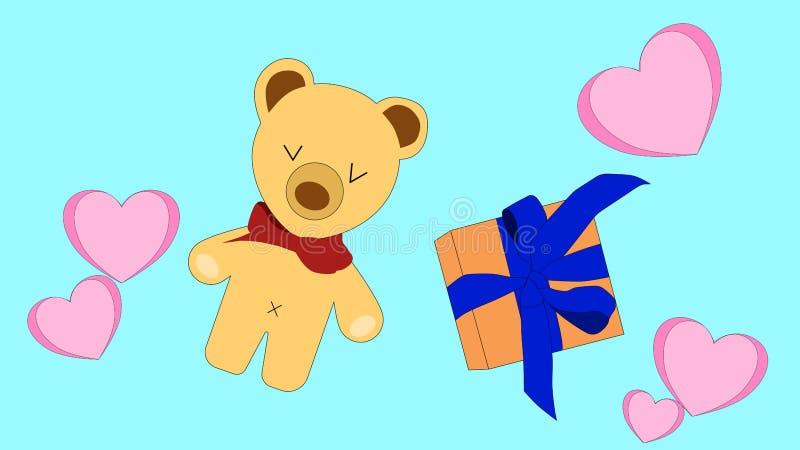 Färgrik vektor av en björn som omges av rosa hjärtor, och en ask av gåva stock illustrationer