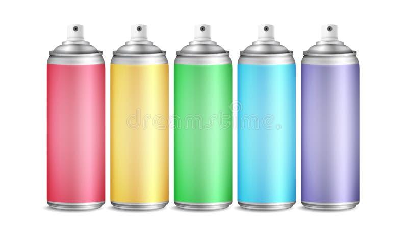 Färgrik vektor för uppsättning för sprejcan flaskor för aluminium 3D Målarfärgærosol för gatagrafitti Brännmärka design förpacka  royaltyfri illustrationer