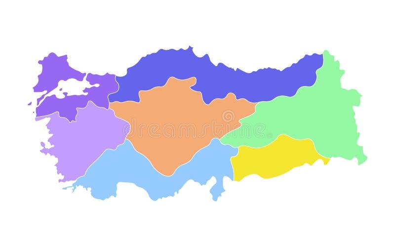 Färgrik vektor isolerad förenklad översikt av Turkiet regioner E vektor illustrationer