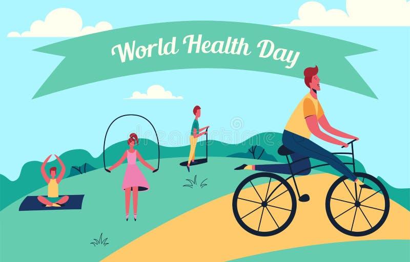 Färgrik vektorillustration av dagen för världshälsa stock illustrationer
