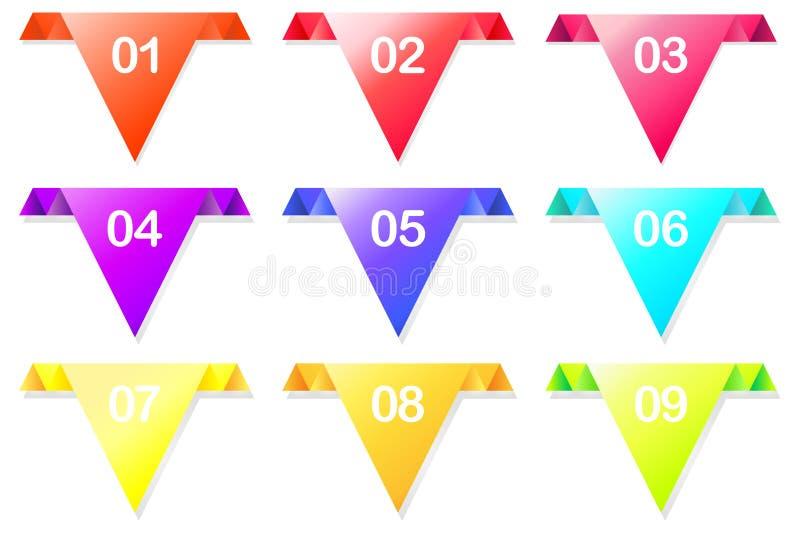 Färgrik vektorpil med färgrika ljusa färger som pekar i en riktning för webbplatser annonser ocks? vektor f?r coreldrawillustrati royaltyfri illustrationer
