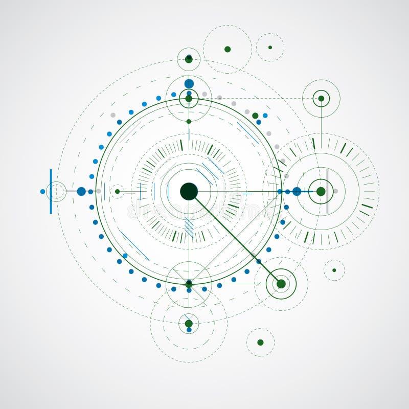 Färgrik vektorteckning för geometrisk teknologi, teknisk tapet royaltyfri illustrationer