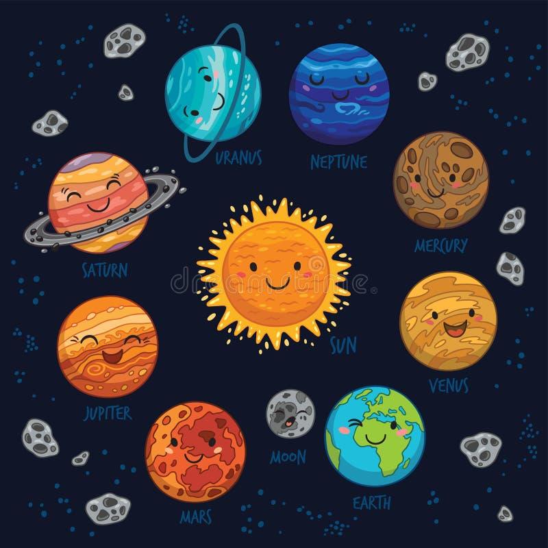 Färgrik vektoruppsättning för planeter på mörk bakgrund stock illustrationer