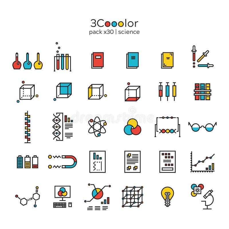 färgrik vetenskapssymbolsuppsättning av trettio objekt royaltyfri illustrationer