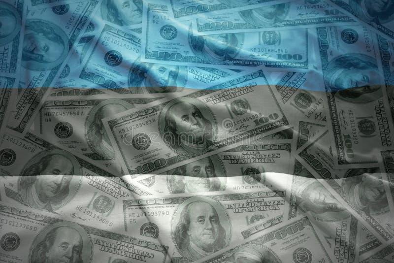 Färgrik vinkande estonian flagga på en dollarpengarbakgrund royaltyfri bild