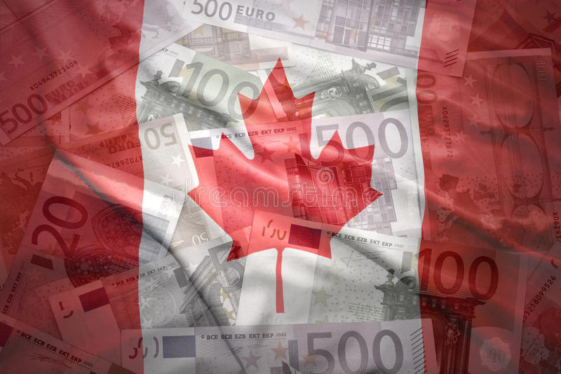 Färgrik vinkande kanadensisk flagga på en eurobakgrund royaltyfria bilder