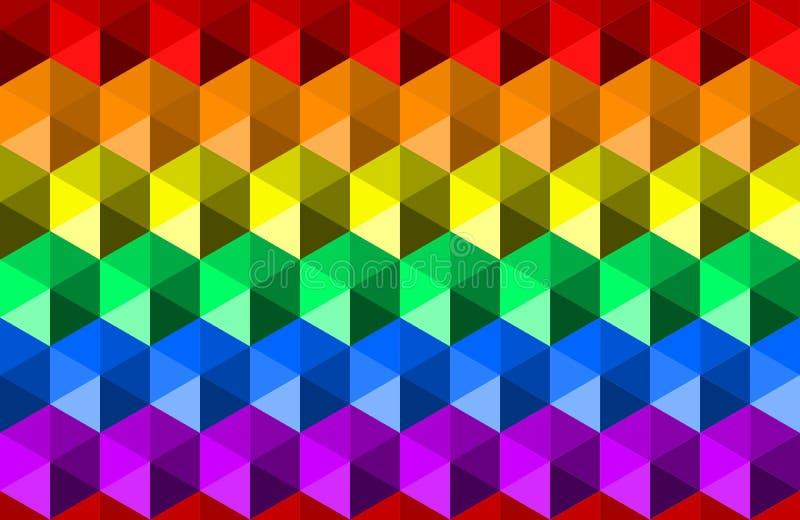 Färgrik vinkande regnbågetexturbakgrund av sexhörningsformer, färger för LGBTQ-stolthetflagga, horisontalsömlös modell vektor illustrationer