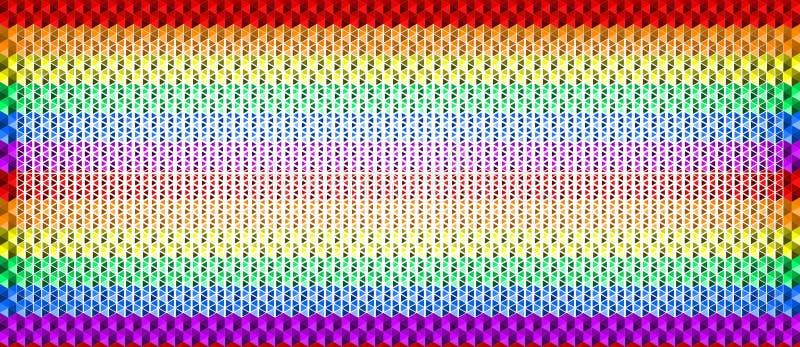 Färgrik vinkande regnbågetexturbakgrund av små triangelformer, färger för LGBTQ-stolthetflagga, horisontalsömlös modell royaltyfri illustrationer
