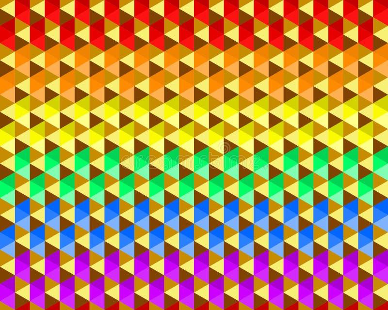 Färgrik vinkande regnbågetexturbakgrund av små triangelformer, färger för LGBTQ-stolthetflagga, sömlös modell Plan designvektor vektor illustrationer