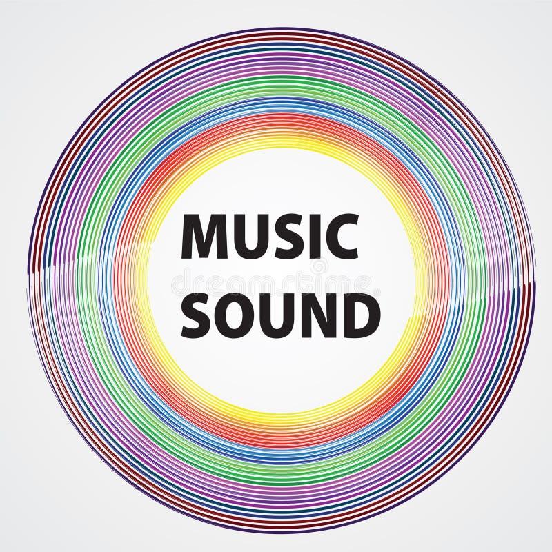 Färgrik vinyl med ordmusikljudet Färgdesign Vektorillu royaltyfri illustrationer