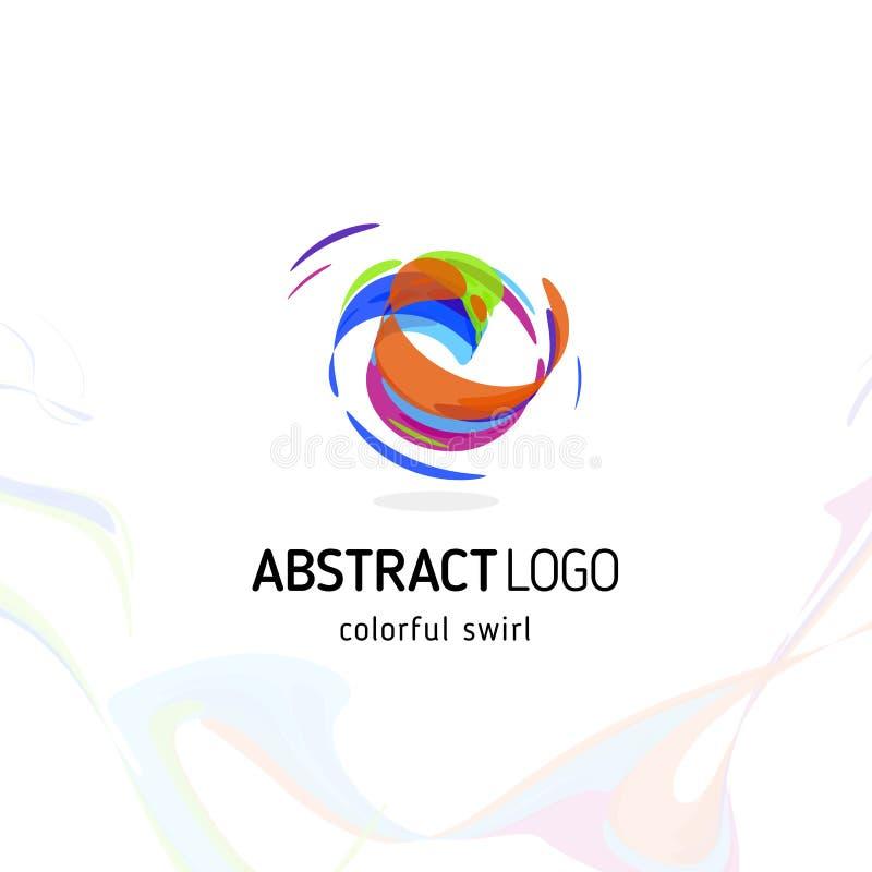 Färgrik vridande abstrakt logo för virvel Krullad dynamisk cirkelform, rörelsevektorlogotyp Borsteslaglängdvektor vektor illustrationer