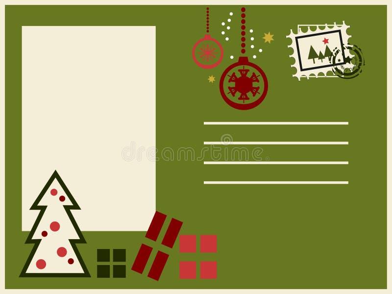 färgrik vykort för jul royaltyfri illustrationer