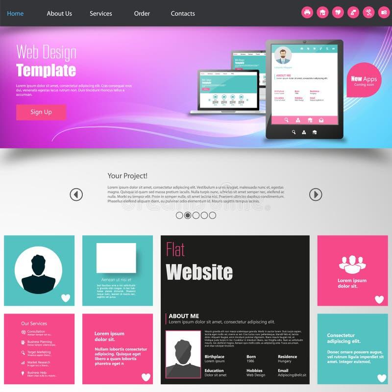 Färgrik websitedesignmall royaltyfri illustrationer