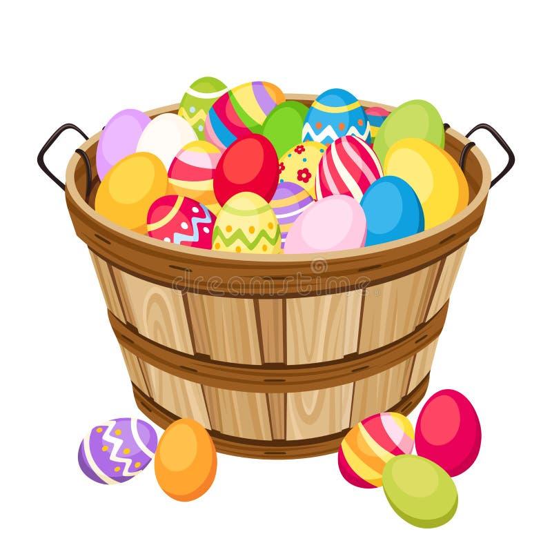 Färgrika ägg för påsk i träkorg. Vektorillu stock illustrationer
