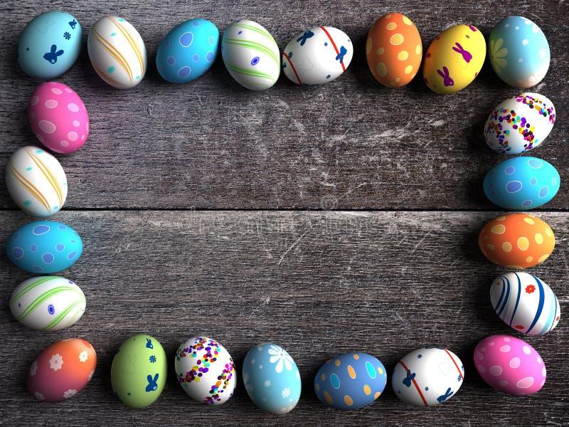 Färgrika ägg för påsk på en träbakgrund vektor illustrationer