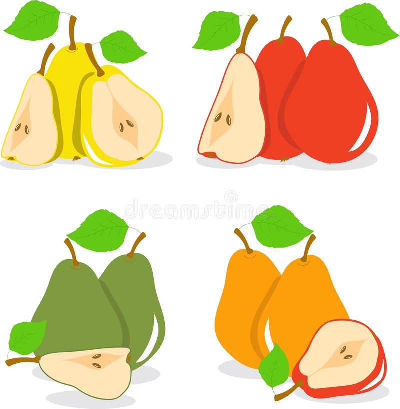 Färgrika äppleskivor, samling av illustrationer vektor illustrationer