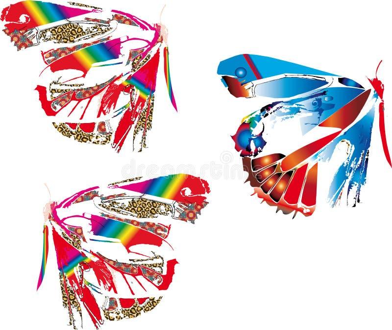 Färgrika abstrakt fjärilar royaltyfri illustrationer