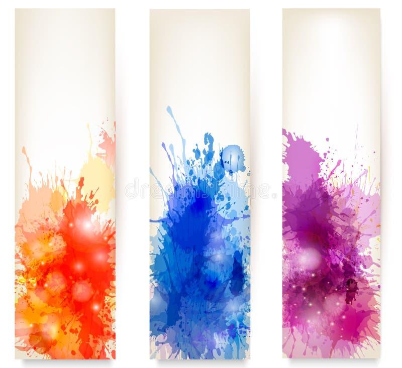 färgrika abstrakt vattenfärgbaner. vektor illustrationer