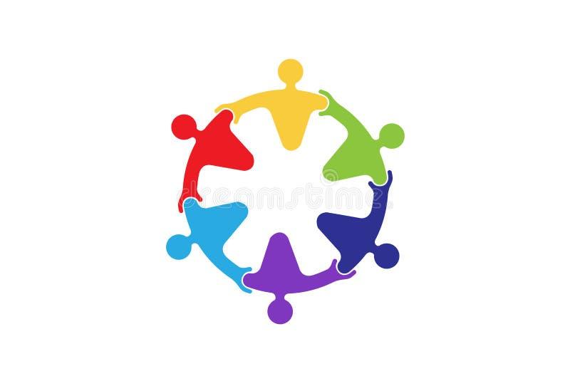 Färgrika abstrakta folkcirkeltecken Logo Design Symbol royaltyfri illustrationer