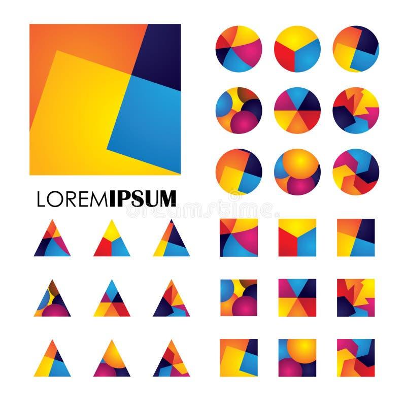 Färgrika abstrakta ovanliga former stock illustrationer