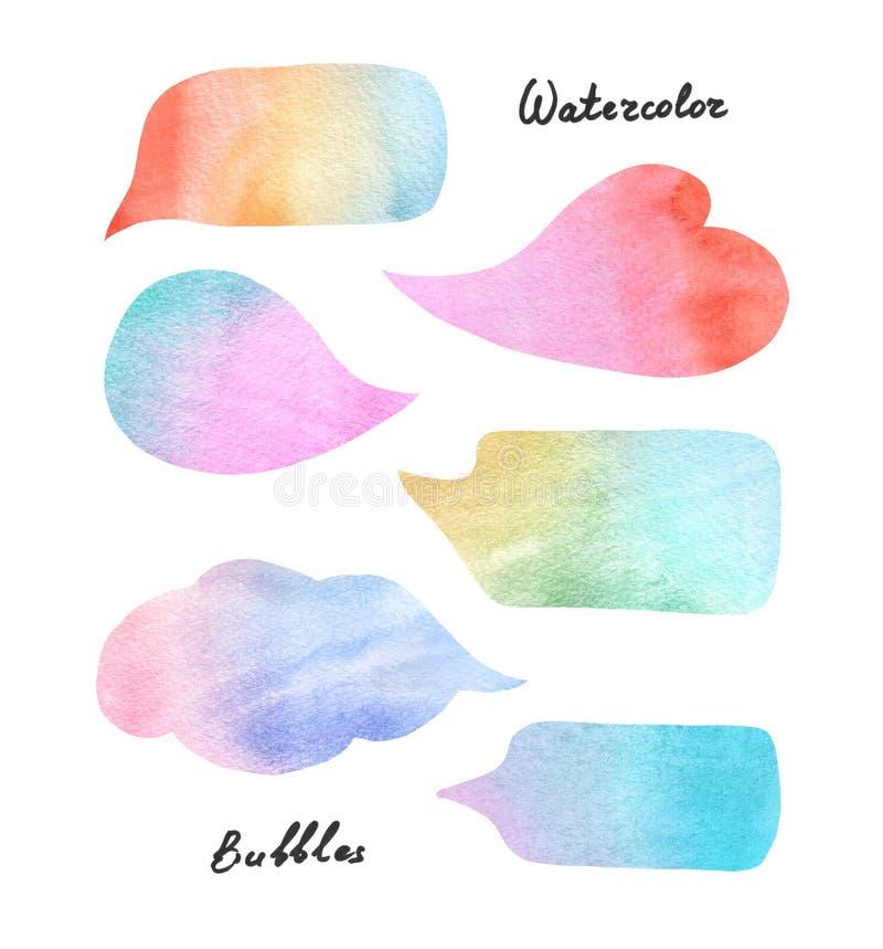 Färgrika anförandebubblor för vattenfärg vektor illustrationer