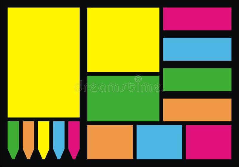 färgrika anmärkningspapperen arkivfoto