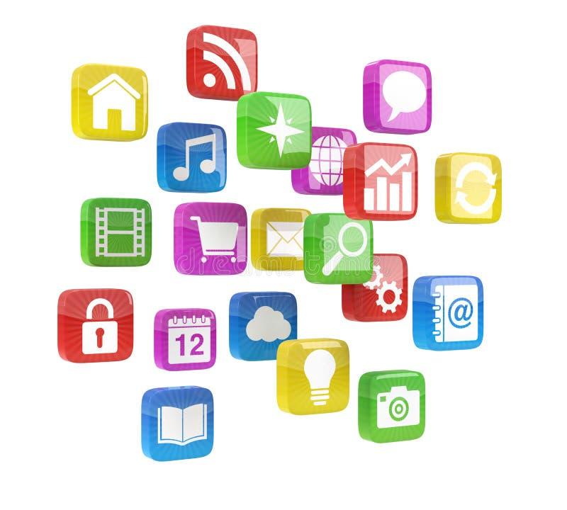 Färgrika app-symboler arkivfoton